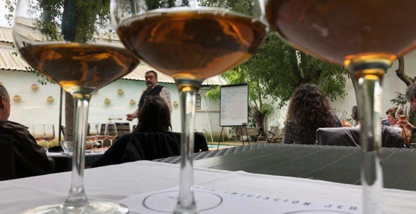 Cata de vinos oxidativos de Jerez y maridaje con quesos en La Vinacería