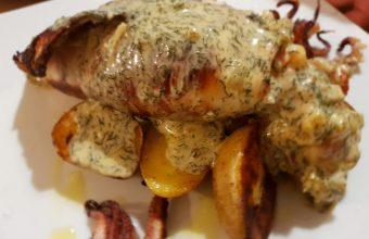 El calamar relleno de langostino de Harinas