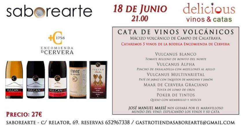 Cata de vinos volcánicos en Saborearte