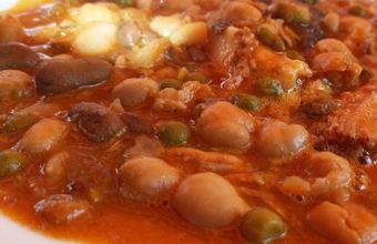 El cocido de habas y guisantes de la bodega El Tinahón