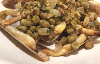 Las navajas con habas a la hierbabuena de Bernardo restaurante