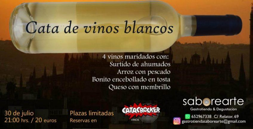 Cata de vinos blancos en Saborearte