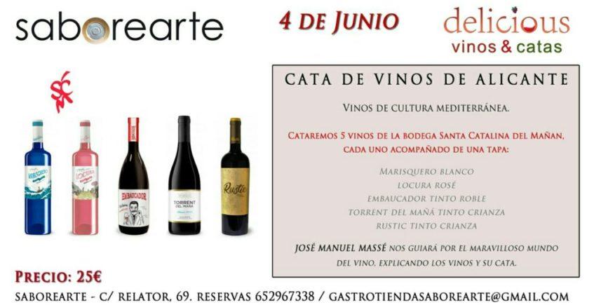 Cata de vinos de Alicante en Saborearte