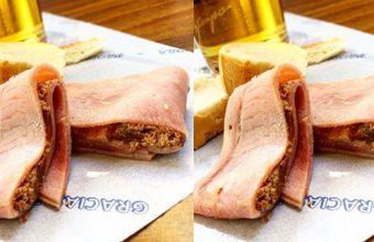 El rollito de Jamón York con paté de foie gras de La Flor de Toranzo