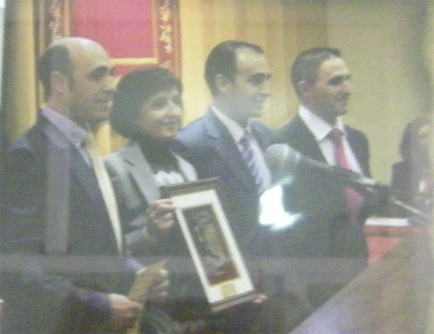 Los hermanos Reina Corpas (Rafael, Mari Carmen, Manolo y Antonio) el día que recibieron el premio Andalucía, que dedicaron a sus padres. Foto: Cedida por el Horno Cantareros.