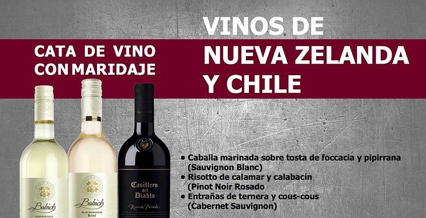 24 de mayo: Cata de vinos de Nueva Zelanda y Chile con maridaje