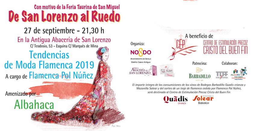 Moda flamenca con copa de Barbadillo en la Antigua Abacería San Lorenzo