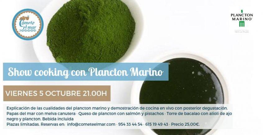 Demostración de cocina con plancton marino