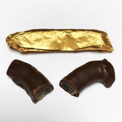 Las tiras de limón cubiertas de chocolate.