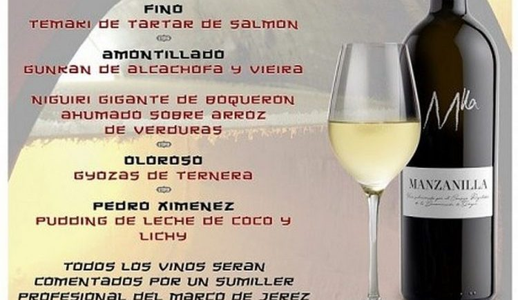 Un menú con sushi y vinos de Jerez a domicilio