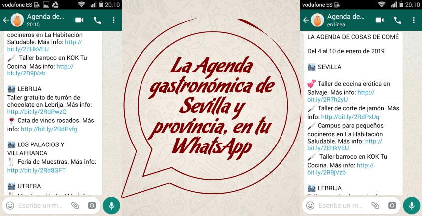 La agenda gastronómica de Sevilla, en tu WhatsApp