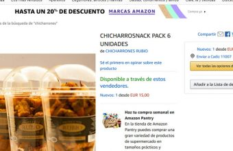La página de Amazon en la que se venden los chicharrones de Cárnicas Rubio de Benacazón.