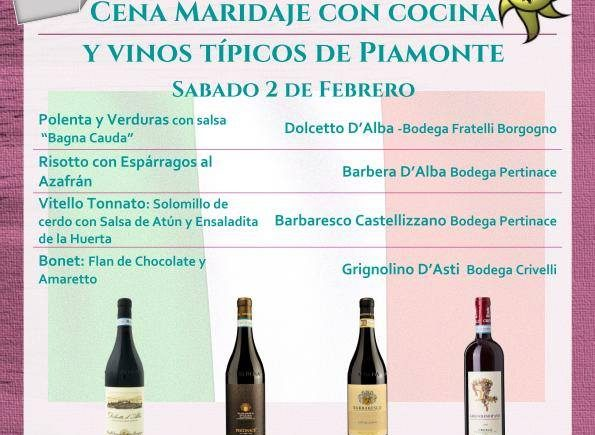 Del 2 de febrero. Sevilla. Cata de cocina y vinos de Piamonte