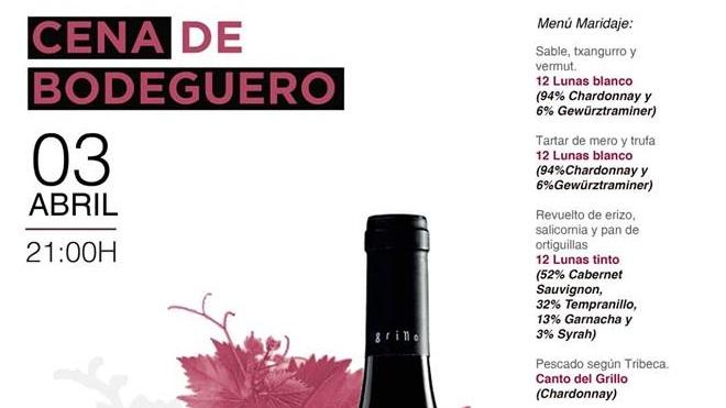 3 de abril. Sevilla. Cena Bodeguero en Tribeca con vinos El Grillo y La Luna