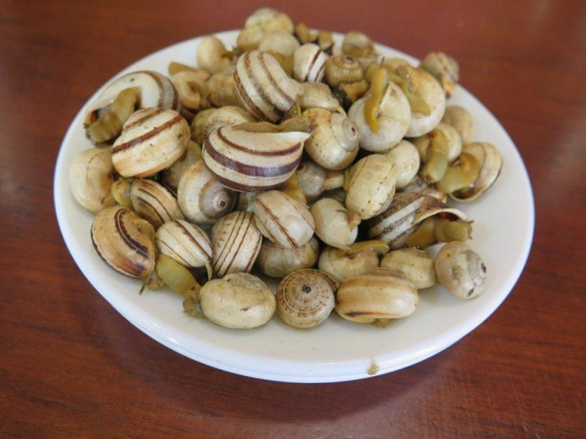 Es tradición en Protasio servir los caracoles con aceite de oliva y sal. Foto: CosasDeComé.