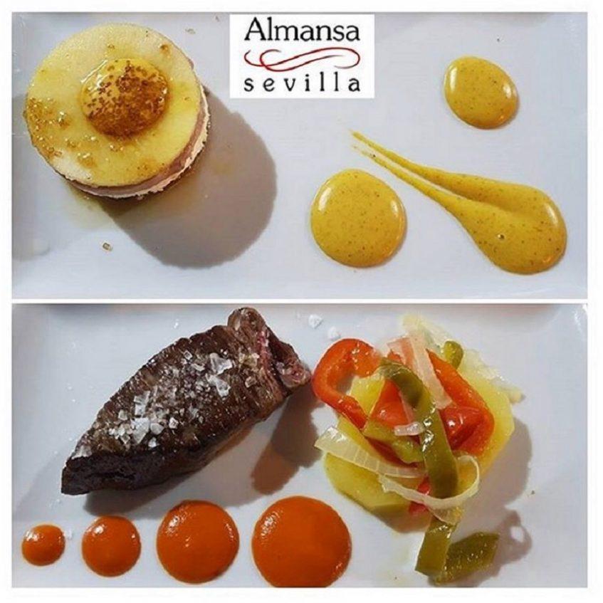 Milhoja de foie y membrillo y taco de chuleta gallega, dos de las tapas estrella de Almansa. Foto cedida por establecimiento.