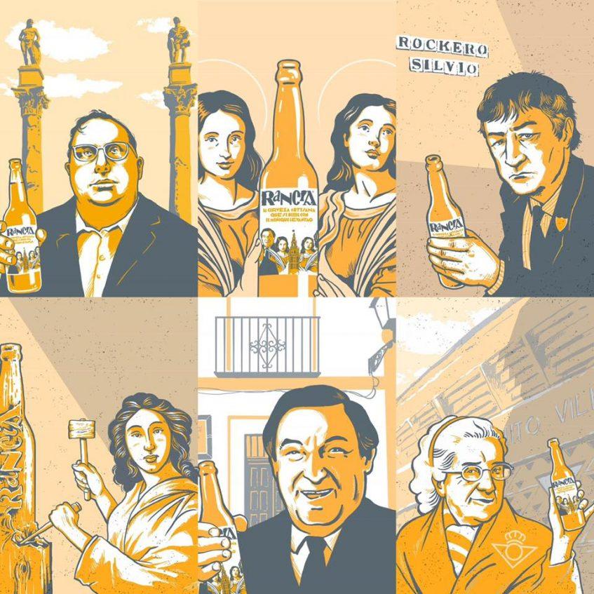 """El Pali, Santa Justa y Rufina, el cantante Silvio, la Roldana, Paco Gandía y la abuela del Betis, los siete """"súper-sevillanos"""" a los que homenajea Rancia en su etiqueta. Foto cedida por la empresa."""