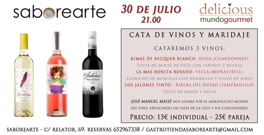 Cata de vinos y maridaje. 30 de julio. Sevilla