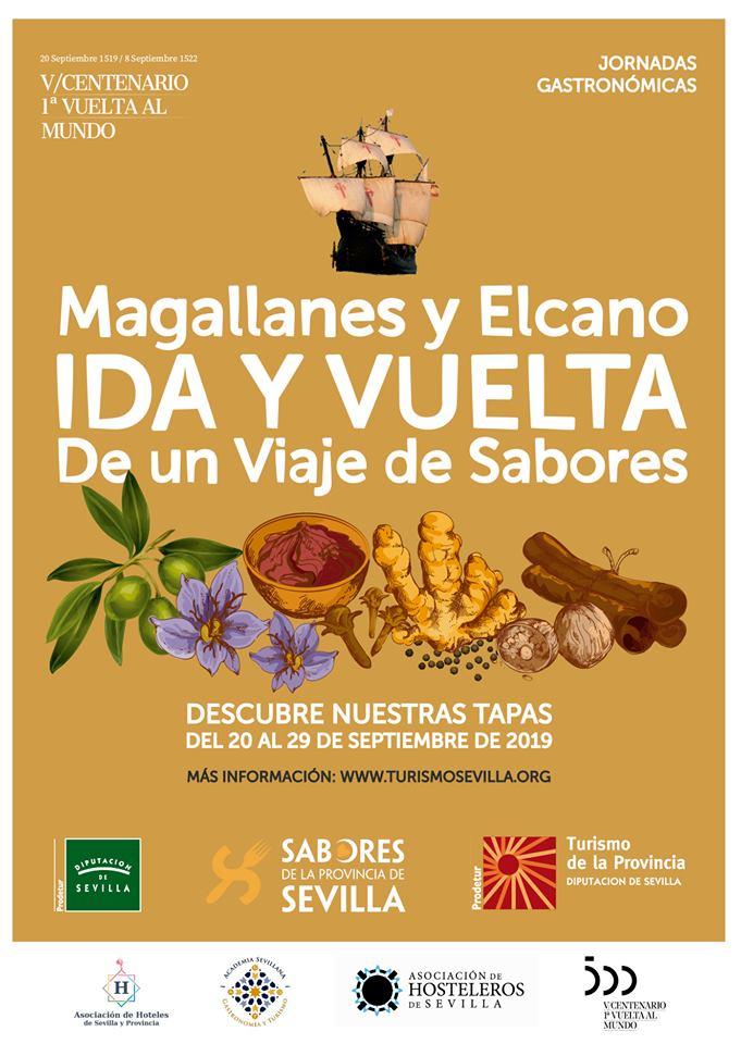 Cartel anunciador 'Magallanes y ElCano. Ida y vuelta de un viaje de Sabores. Foto cedida por Diputación.
