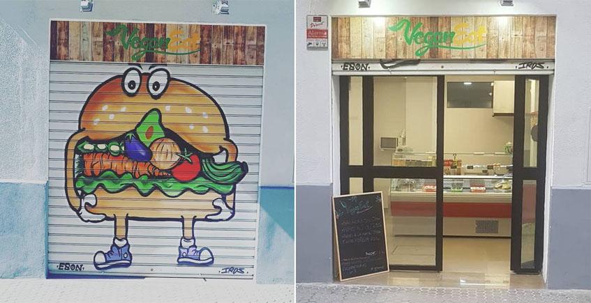 La tienda de Vegan Eat en la calle Correduría. Tienen una simpática imagen en la baraja. Fotos: Veganeat