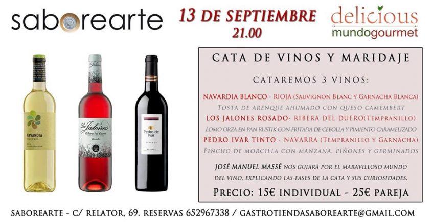 Cata de vinos y maridaje en Saborearte el 13 de septiembre