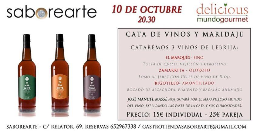Cata de vinos generosos y maridaje en Saborearte. 10 de octubre. Sevilla.