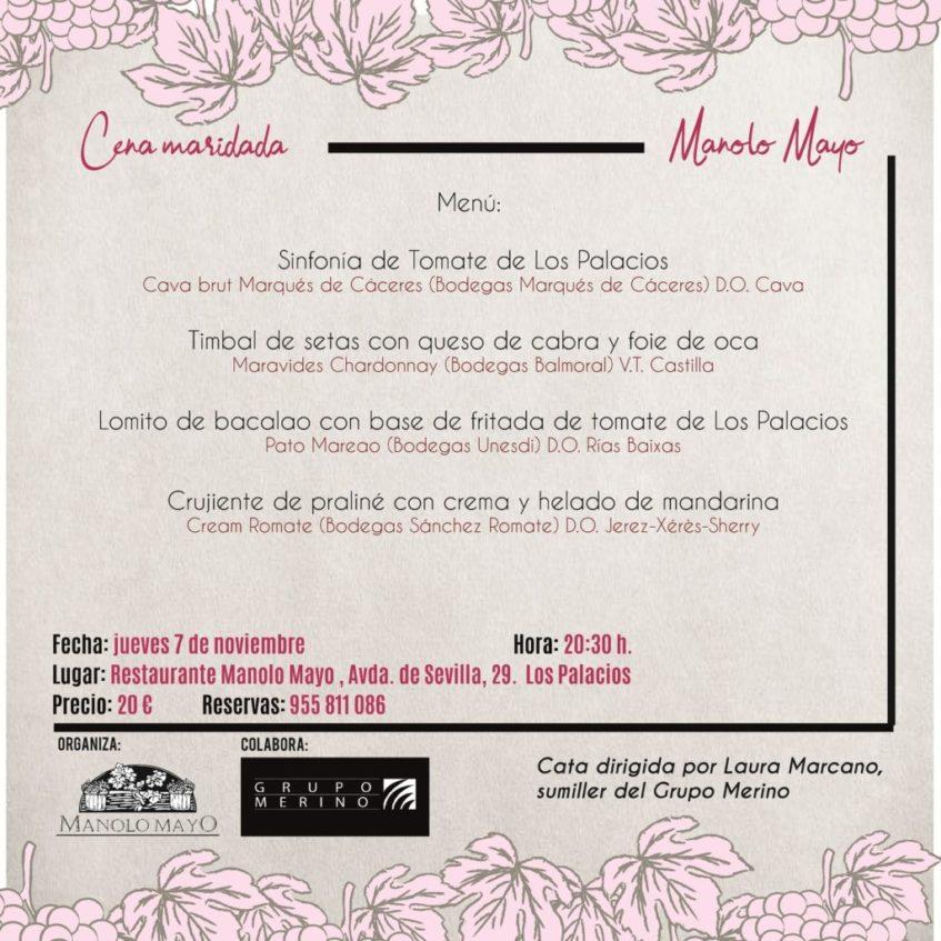 Cartel anunciador de la cena maridada que se celebrará en Manolo Mayo. Imagen cedida por el establecimiento.