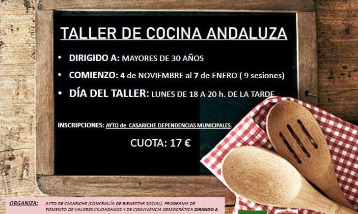 Taller de Cocina Andaluza. Del 4 de noviembre al 7 de enero. Casariche.