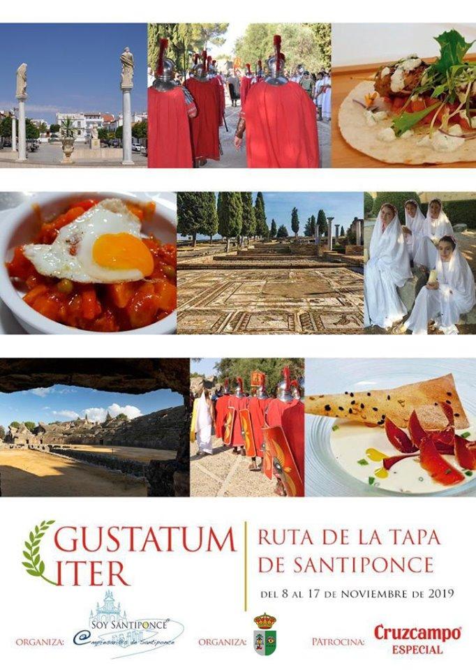 Cartel anunciador de la Ruta de la Tapa de Santiponce. Foto cedida por el Ayuntamiento.