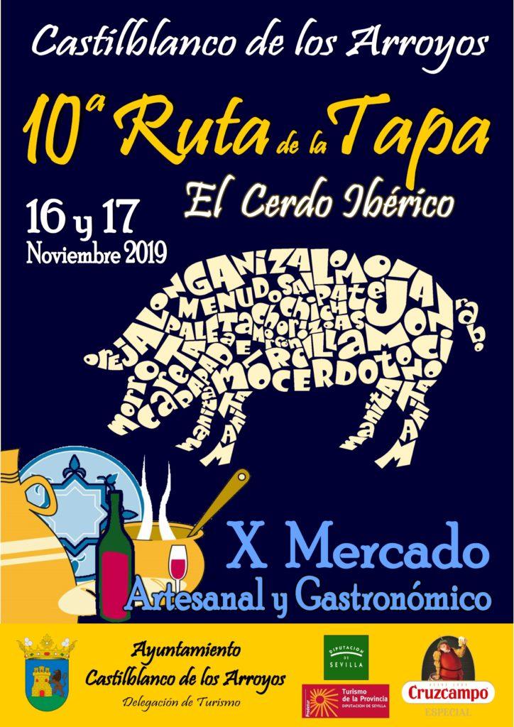 Cartel anunciador de la Ruta de la Tapa de Castilblanco. Foto cedida por la organización.