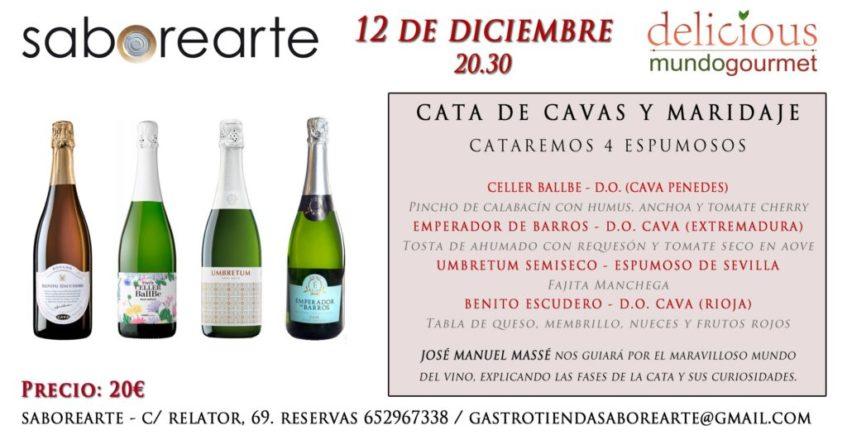 Cata de cavas y maridaje en Saborearte. 12 de diciembre. Sevilla