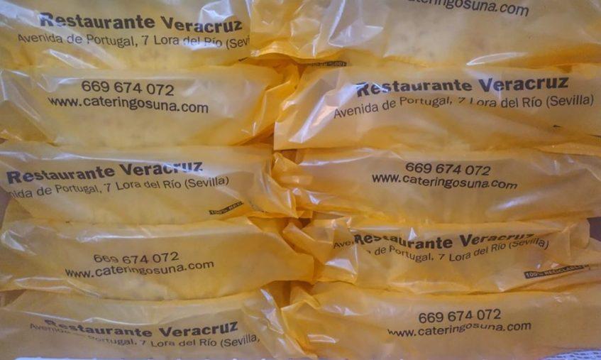 Comida para llevar preparada para ser recogida en restaurante Veracruz de Lora. Foto cedida por el establecimiento.