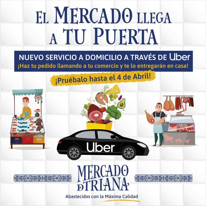 Cartel anunciador del nuevo servicio que ofrece el Mercado de Triana. Imagen cedida por el mercado