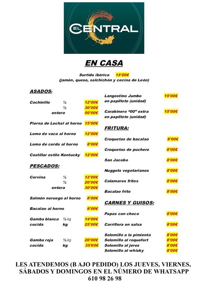 Cartel con las especialidades de El Central a domicilio. Foto cedida por el establecimiento