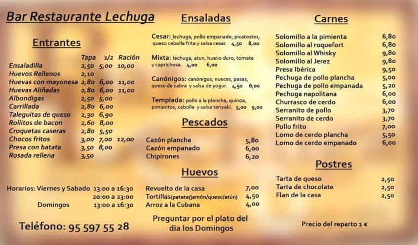 Oferta gastronómica del bar Lechuga para llevar a domicilio. Foto cedida por el establecimiento