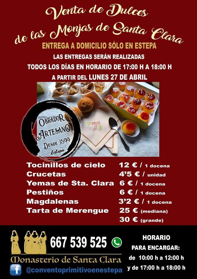 Listado de productos y precios de las monjas de Santa Clara de Estepa. Foto cedida por el convento de clarisas