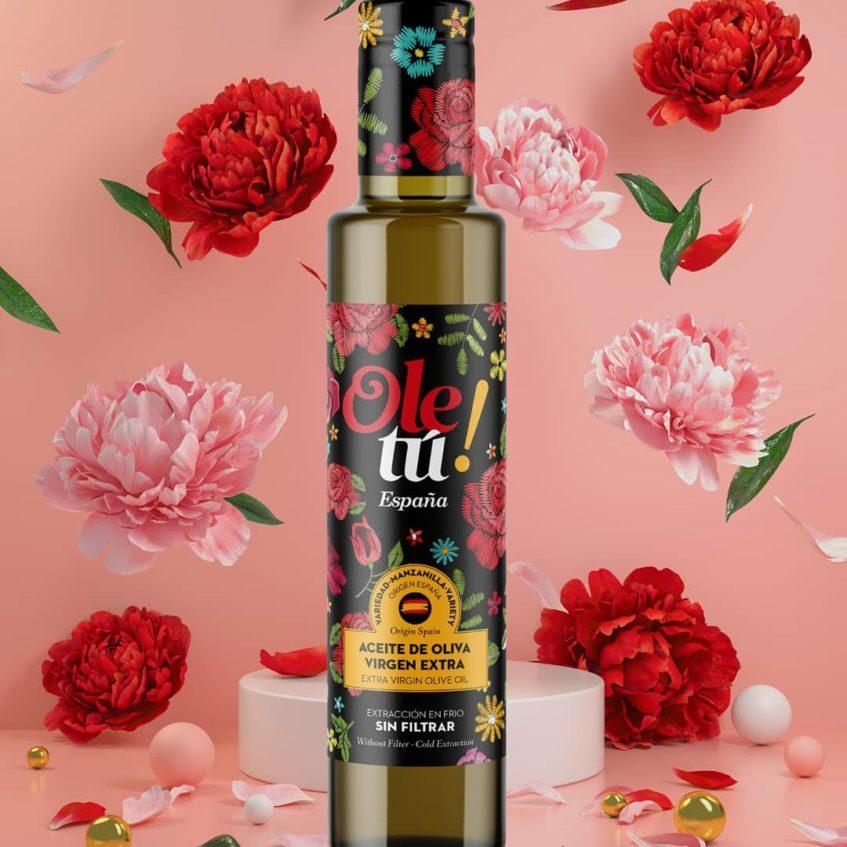 Edición especial de aceite de oliva Virgen Extra sin filtrar. Foto cedida por Olé Tu Spain